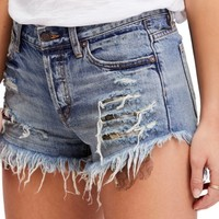 Free People Embroidered Ripped Shorts | Nordstrom