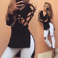 Womens Hollow Casual Tops Loose Long Sleeve Fashion Lace Sexy T Shirt Hot