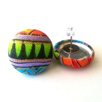Small neon tribal fabric button earrings