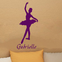 Personalized name Ballerina wall vinyl art decal sticker kids wall stickers