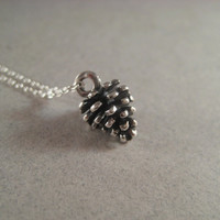 Silver Pinecone Necklace, Sterling Chan Necklace, Woodland Autumn Nature, Holiday Jewelry, Minimal Jewelry