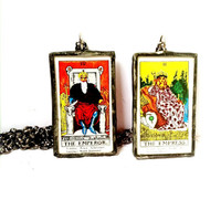 Tarot Card Necklace, Emperor and Empress Jewelry, Fortune Telling Jewelry, Rider Waite Necklace, His and Hers Necklaces