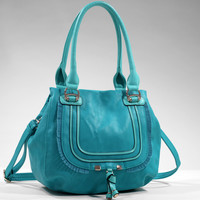 Women's Fashion Shoulder Bag w/ Fringe and Tassel Accent - Turquoise Color: Turquoise