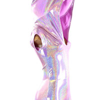 Lilac Purple Holographic Bodysuit Romper Hologram Hoodie with Boy Cut Leg Rave Clubwear Made to order -151082