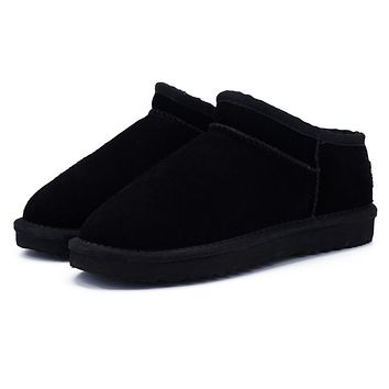 Classic Style Snow Boots Warm Leather Flats Warterproof High Quality Ankle Boots