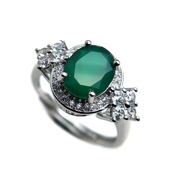 Green Agate Gemstone 7*9mm 925 Sterling Silver Ring