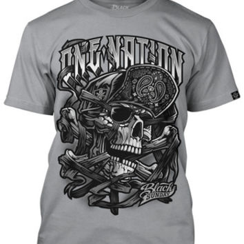 ONE NATION SKULL Silver Mens Tee