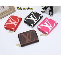 """LV"" Louis Vuitton simple print fashion versatile zipper double card wallet"