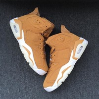 Best Deal Online Nike Air Jordan Retro 6 GOLDEN HARVEST Wheat Golden Harvest/Elemental Gold 384664-705 Men Sneakers Women Sports Shoes