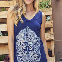 Buddha Believin Graphic High Low Tank Top
