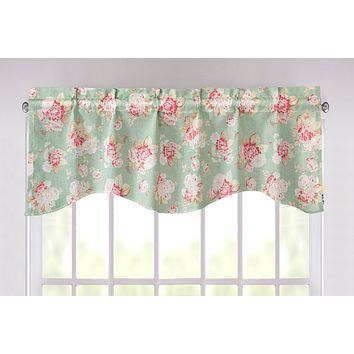 """DaDa Bedding Hint of Mint Floral Light Green Roses Cottage Window Curtain Valance - 18"""" x 52"""" (JHW-3036)"""