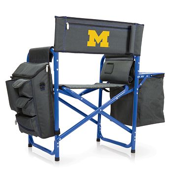Michigan Wolverines - Fusion Backpack Chair with Cooler, (Dark Gray with Blue Accents)