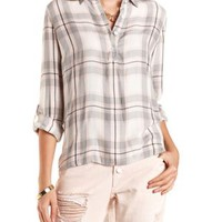 High-Low Button-Up Plaid Top by Charlotte Russe