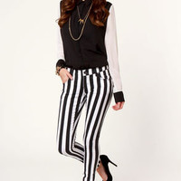 Tripp NYC Overdyed Super Stripe Black and White Skinny Pants