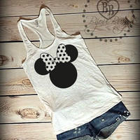 Minnie Mouse Bow  - Minnie Mouse - Disney Design on Racerback, Burnout Tank Top- Sizes S-XL. Other Colors Available