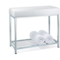 DW 77 Backless Vanity Stool Bench With Chrome Metal Legs and Storage Rack Shelf