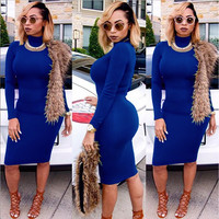 Blue Turtleneck Long Sleeve Bodycon Dress