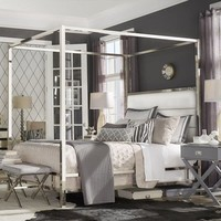Solivita Chrome Metal Canopy Bed with Horizontal Panel Headboard by iNSPIRE Q Bold | Overstock.com Shopping - The Best Deals on Beds