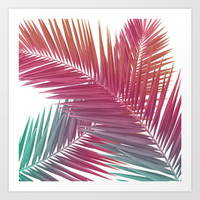 Gradient Palm Leaves Art Print by Urban Exclaim Co.