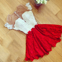 Fashion Women Summer Sexy Lace Hollow Out Red/Blue Dress Perspective Dresses O-neck Casual Dress 2016