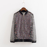 2016 Trending Fashion Lace Floral Printed Women  Sweater Cardigan Coat Jacket Outerwear Top _ 9815