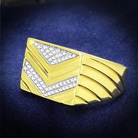 Gold Ring For Men TS234 Gold+Rhodium 925 Sterling Silver Ring with CZ