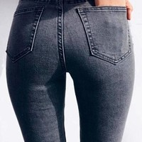 Charcoal Grey Pockets Button Fly High Waist Fashion Long Jeans