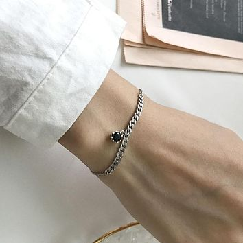 Sterling Silver Chain Bracelet with Black CZ Charm