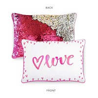 LOVE Pillow Cover w/ Reversible Pink & Silver Sequins