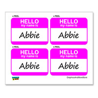Abbie Hello My Name Is - Sheet of 4 Stickers