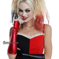 Licensed cool Suicide Squad Harley Quinn Red And Black Lame Costume Long Fingerless Gloves