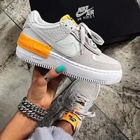 NIKE Air Force 1 Shadow Hot Sale Women Casual Sport Running Shoes Sneakers Grey&Orange