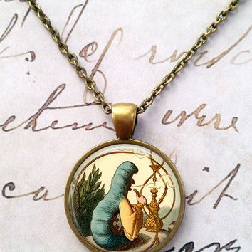 Alice In Wonderland Necklace, Caterpillar Pendant, We're All Mad Here, Wonderland, Steampunk, Once Upon a Time, Fairy Tale Illustration T873