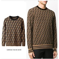 Fendi crew neck sweater men's T-shirt long sleeve warm retro sweater sweater