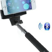 Socoolmart UFCIT Extendable Selfie Handheld Stick Monopod with with Adjustable Phone Holder and Bluetooth Wireless Remote Shutter for iPhone Samsung (Black)