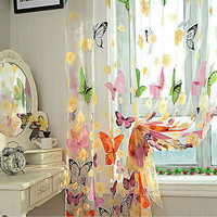 1 X Butterfly Print Sheer Curtain Panel Window Balcony Tulle Room Divider 3C