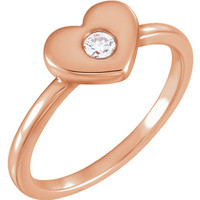 Dainty Diamond Ring | Heart Ring | Romantic Jewelry Gifts | Solid 14k Rose Gold Ring | Heart Jewelry | Valentines Day Gifts for Her | Size 7