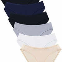 Women's Cotton Stretch Bikini Panties Breathable Underwear 6 Pack