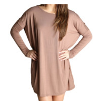 mocha piko tunic dress