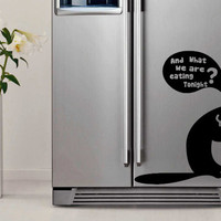 Very Cute Kitty Decal on Fridge, Pussy Cat Vinyl Sticker on furniture or  for Car Glass!  Art Decal Decor DIY Mural! Free shipping!