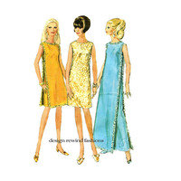 1960s DRESS PATTERNS Evening Gown Cocktail Dresses & Overdress Maxi Dress Simplicity 7344 Bust 34 Size 14 Easy to Sew Womens Sewing Patterns