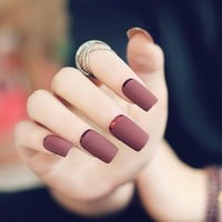 Brown Red Scrub Fake Nails Long Overturn French Finger Nails with Metal Side Full Cover Nails overhead