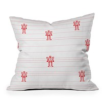 Vy La Robots And Stripes Throw Pillow