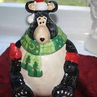 Christmas Black Bear Cookie Jar,Vintage Cookie Jar