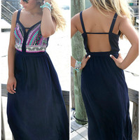 Crazy For Cozumel Navy Embroidered Maxi Dress