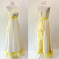 Edna dress // 1970s white eyelet lace & yellow sheer chiffon bustle maxi prom sundress // cummerbund waist // size XS