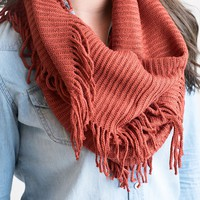 Fall's Fringy Infinity Scarf Rust - Final Sale