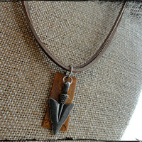 Silver Oxidized Arrow Head and Copper Bar Mens Leather Necklace