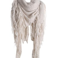 White Fringed Detail Scarf