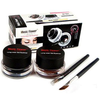 Professional Black Waterproof Cosmetics Eye Liner Gel Eyeliner Pens Tool Set